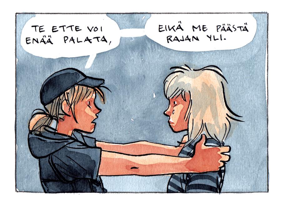 Ruutu Tiitu Takalon Sadankomitean Rauhantiellä-sarjakuva-antologiaan piirtämästä sarjakuvasta.