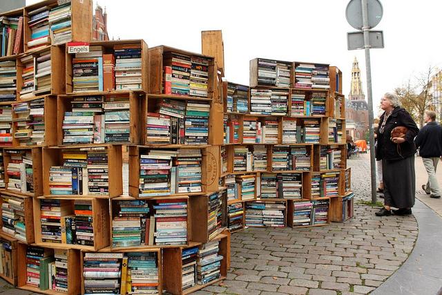 Kirjahylly kadulla. Kuva: Francisco Laso Flickr cc