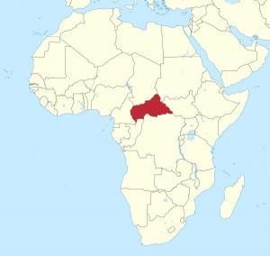 Kartta näyttää missä Keski-Afrikan tasavalta sijaitsee. Kuva: Wikimedia Commons